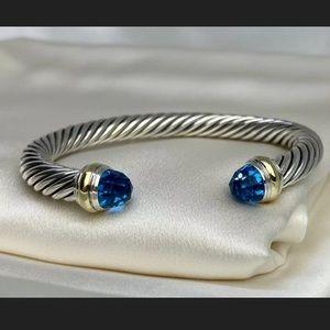 DavidYurman 7 MM SILVER blue topaz cable bracelet